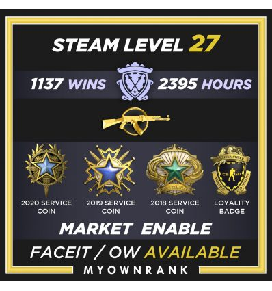 Prime SEM | 307 Hours 100 Wins | 5 Year Coin-2020 Medal | Steam Level 11 | 52 Good Games