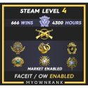 MGE | 666 Wins 4300 Hours | 18(2)-19-20-21 Medal | 1xCoin | Steam Level 4 | Faceit Available