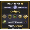 MG2 | 509 Wins 1517 Hours | 18-19(2)-20(2)-21 Medals | 2 x coin | Steam level 15 | Faceit Available
