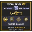 Mg-2 | 212 Wins 856 Hours | 19-20-21 Medals | 1 x Coin | Faceit Available