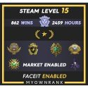 Gn-1 | 862 Wins 2459 Hours | 18-19(2)-20(2)-21 Medals | 1 x Coin | Faceit available