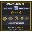 GNM| 800 WINS 3465 Hours | 19(2)-20(3)-21 Medals |2 x Coins | Faceit Available | Steam level 15