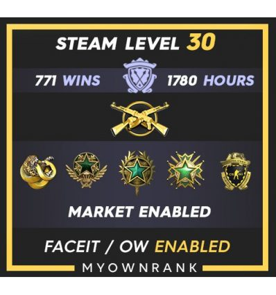 MG-1 | 524 Wins 1274 Hours | 20(3)-21 Medal | 2 x Coins | Steam level 13 | Faceit Available
