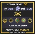 MGE | 771 Wins 1780 Hours |19(2)-20(2)-21(2) Medal | 1 x Coins | 4 x csgo PINS | Steam level 30 | Faceit Available