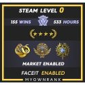 GNM |155 wins 533 hours | 20-21 Service Medal |Diamond Operation Broken Fang Coin| Faceit Available